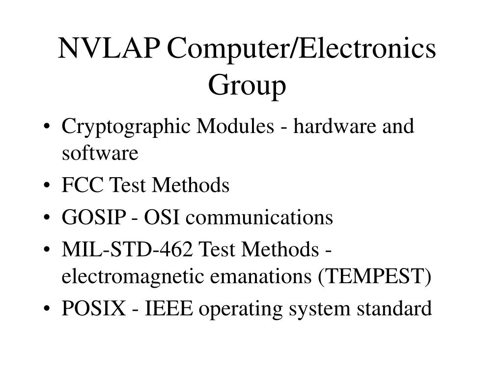 NVLAP Computer/Electronics Group