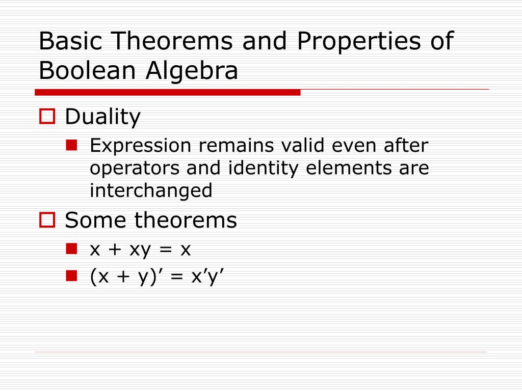 Basic Theorems and Properties of Boolean Algebra
