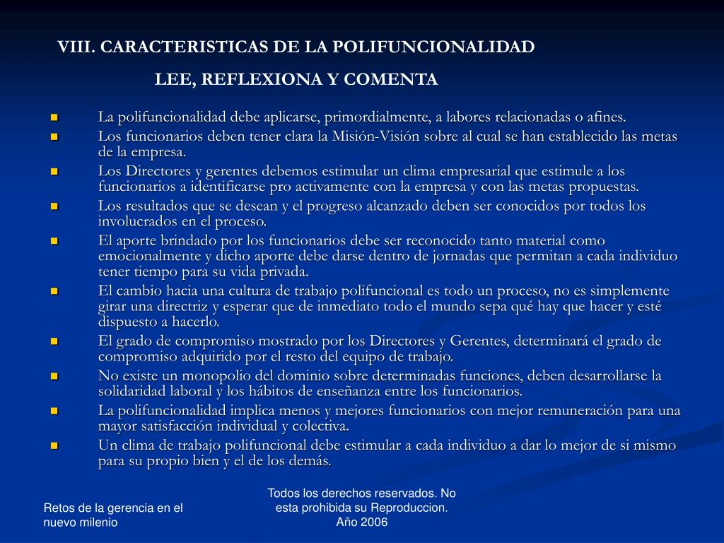 VIII. CARACTERISTICAS DE LA POLIFUNCIONALIDAD