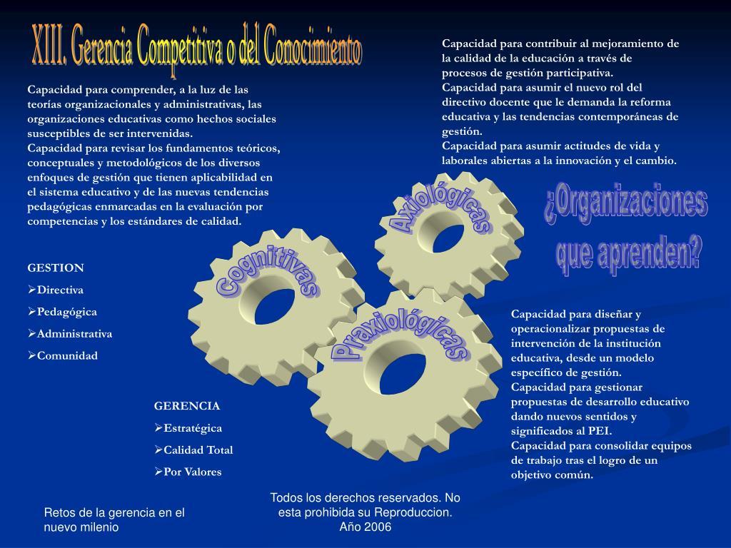 XIII. Gerencia Competitiva o del Conocimiento