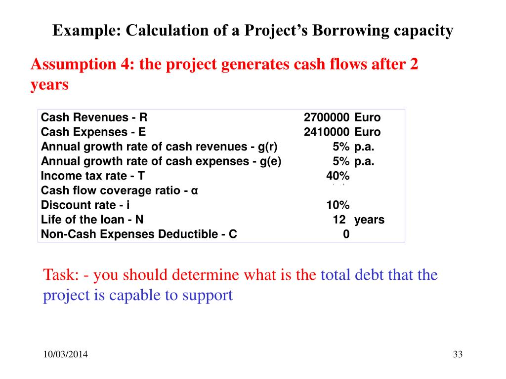 Example: Calculation of a Project's Borrowing capacity