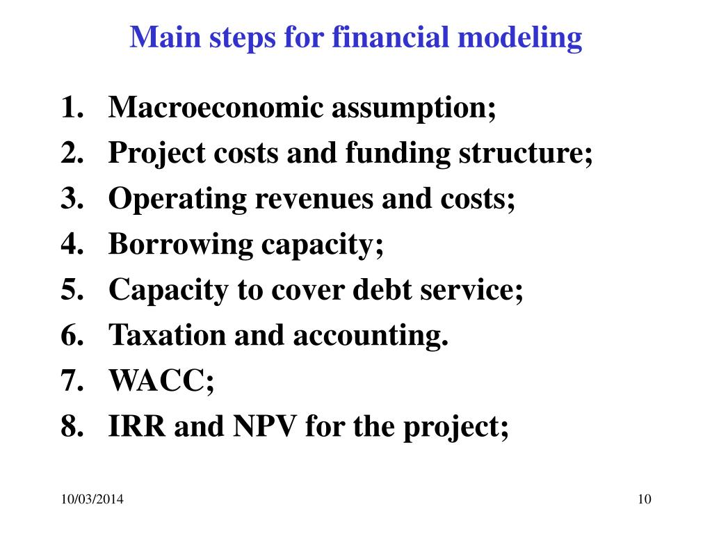 Main steps for financial modeling