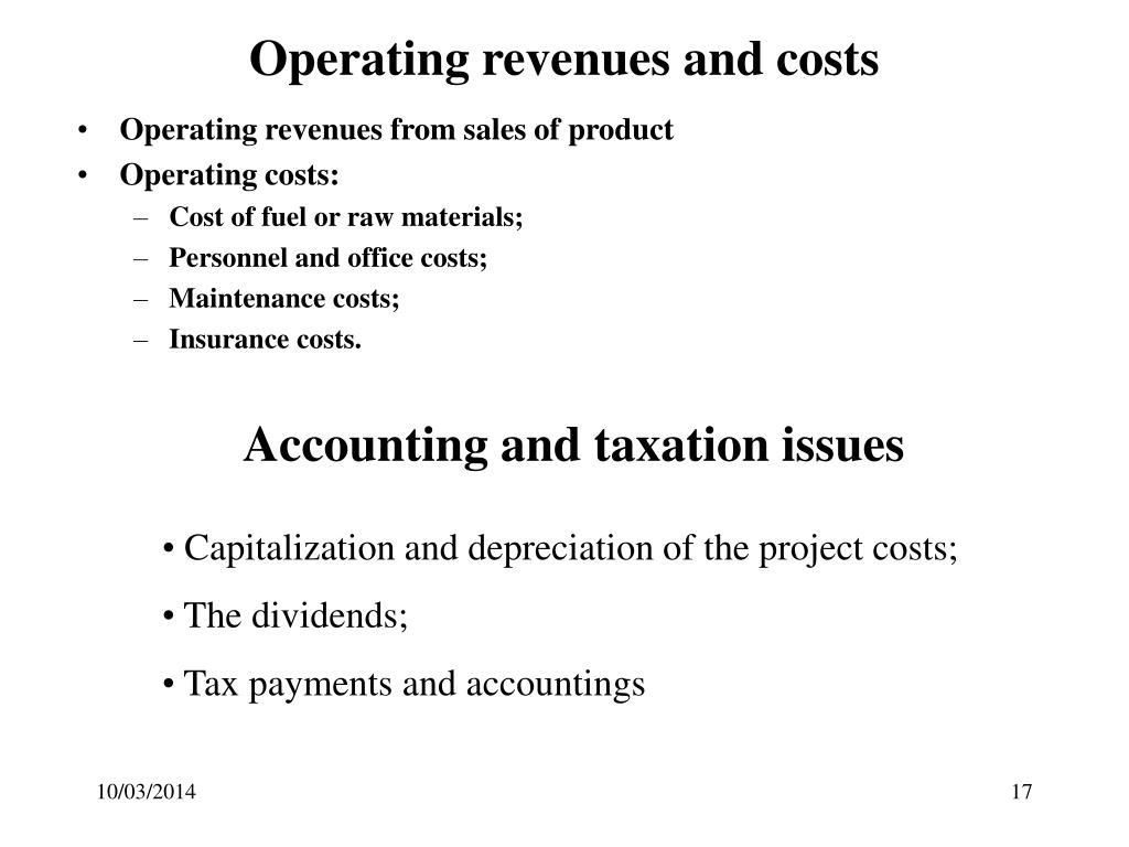 Operating revenues and costs
