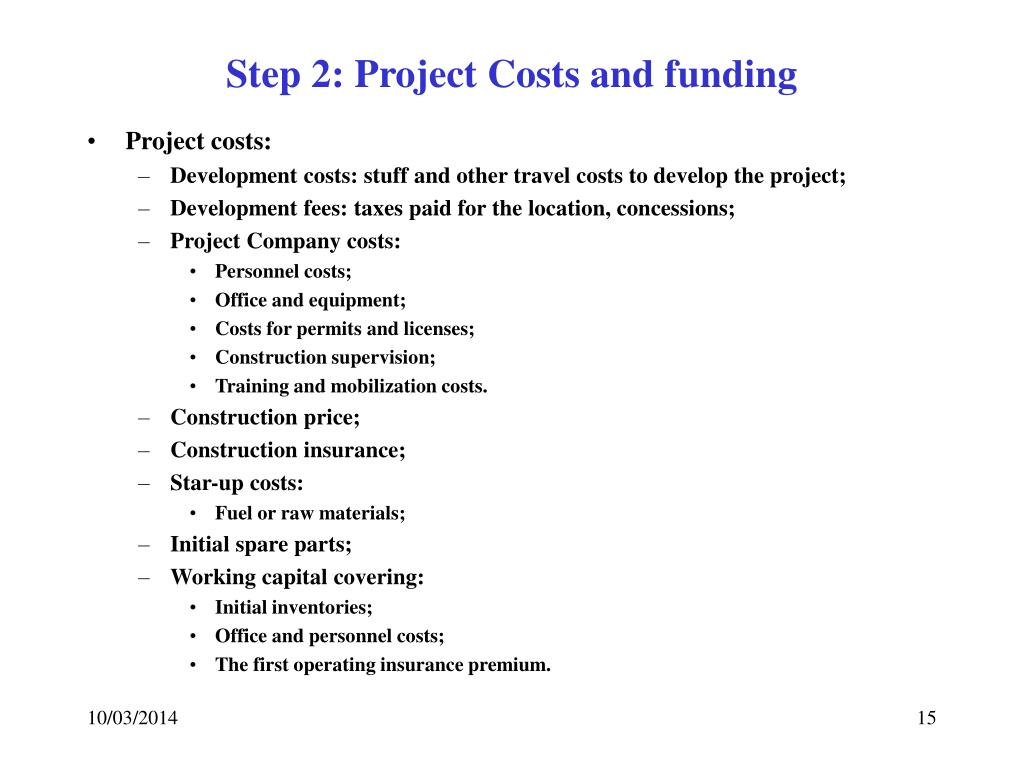 Step 2: Project Costs and funding