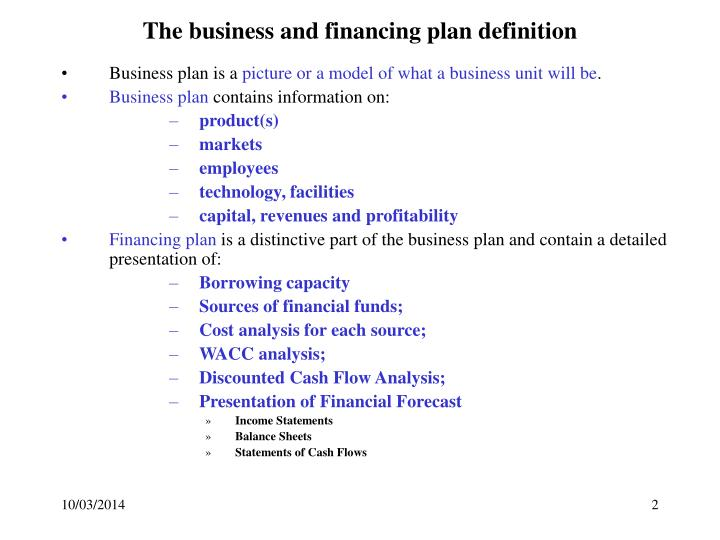 The business and financing plan definition