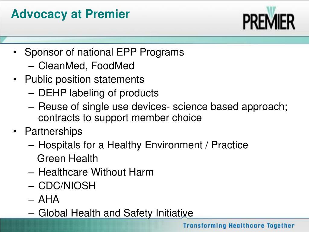 Advocacy at Premier