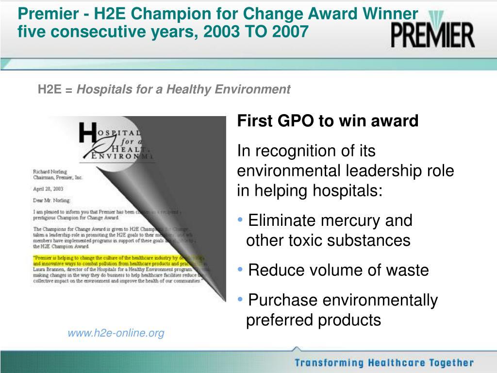 Premier - H2E Champion for Change Award Winner