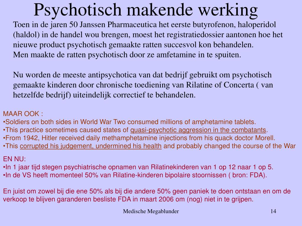 Toen in de jaren 50 Janssen Pharmaceutica het eerste butyrofenon, haloperidol (haldol) in de handel wou brengen, moest het registratiedossier aantonen hoe het nieuwe product psychotisch gemaakte ratten succesvol kon behandelen.