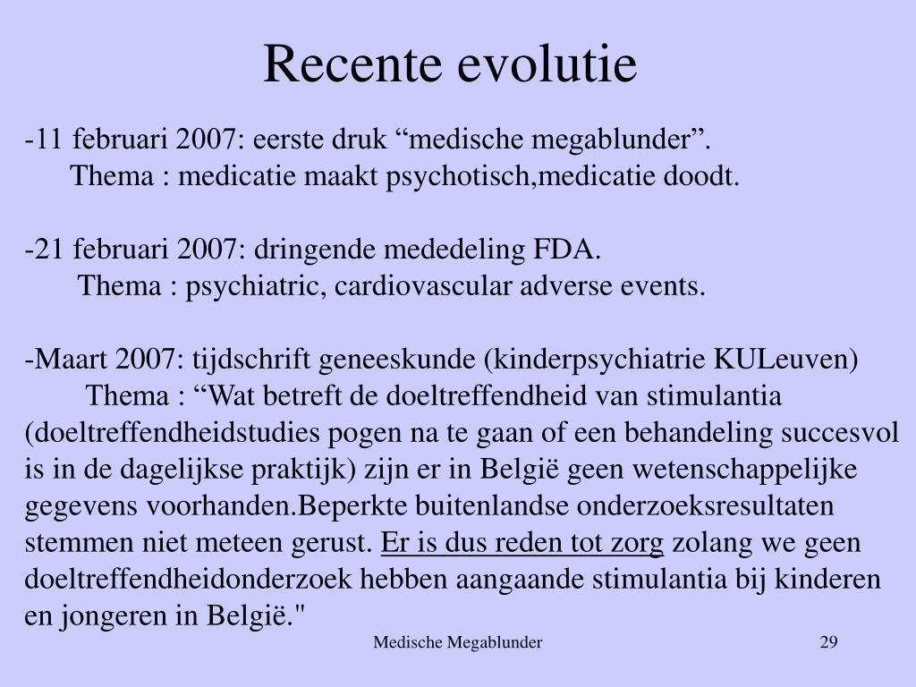 Recente evolutie