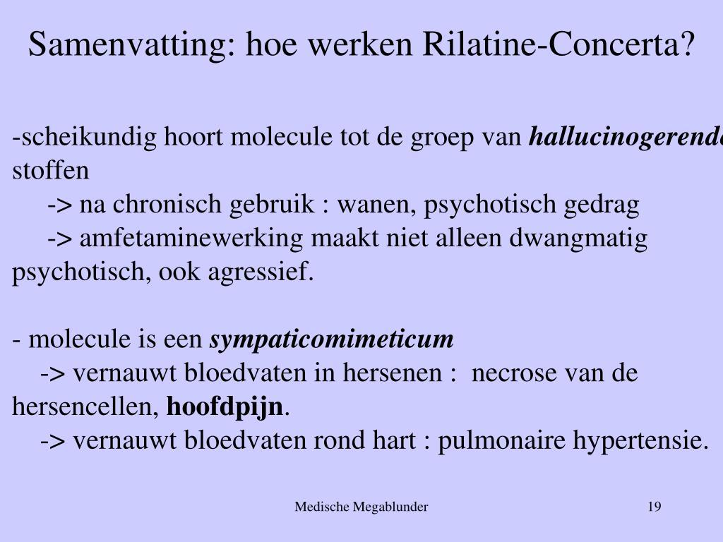 Samenvatting: hoe werken Rilatine-Concerta?