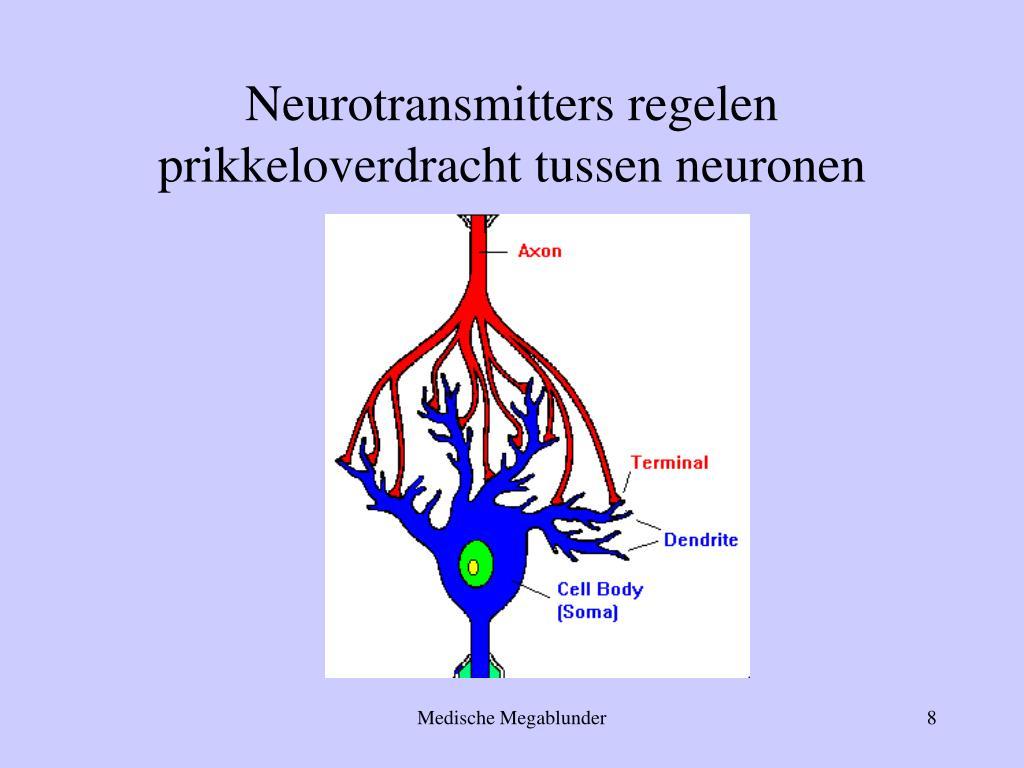 Neurotransmitters regelen prikkeloverdracht tussen neuronen
