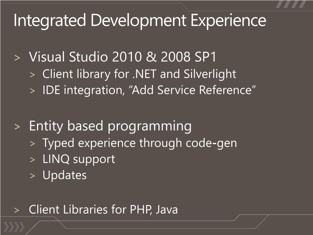 Integrated Development Experience