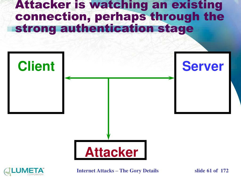Attacker is watching an existing connection, perhaps through the strong authentication stage