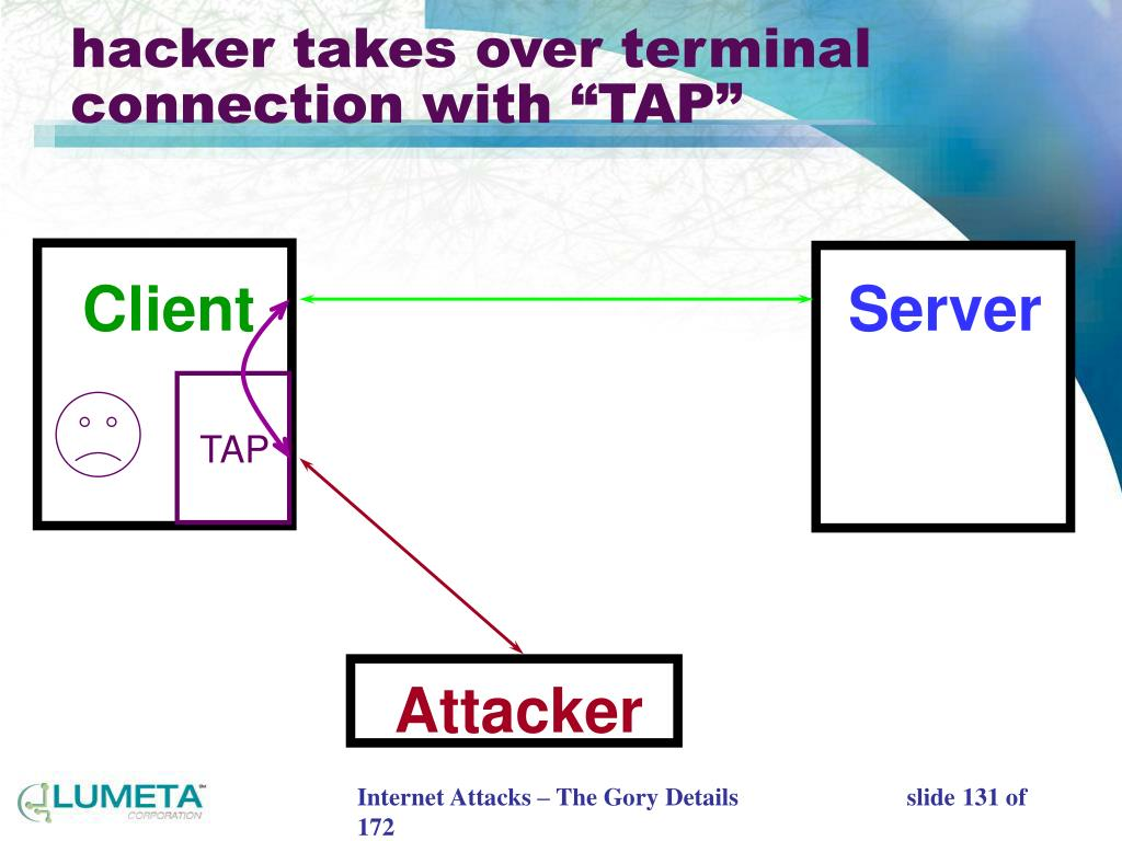 "hacker takes over terminal connection with ""TAP"""