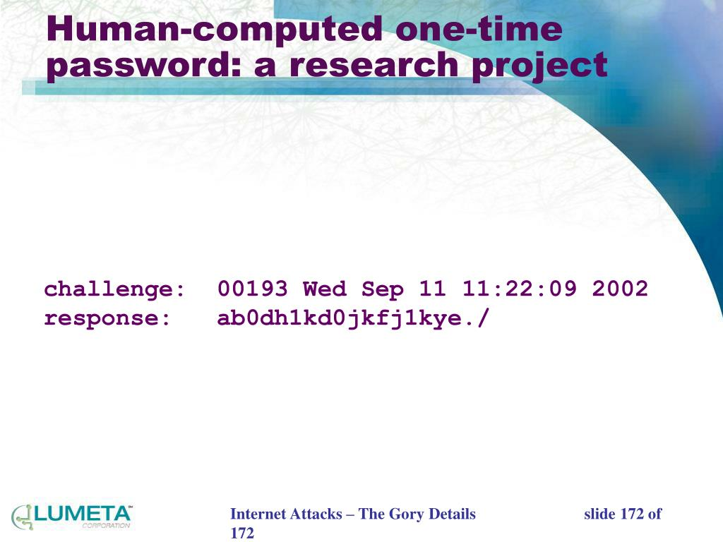 Human-computed one-time password: a research project