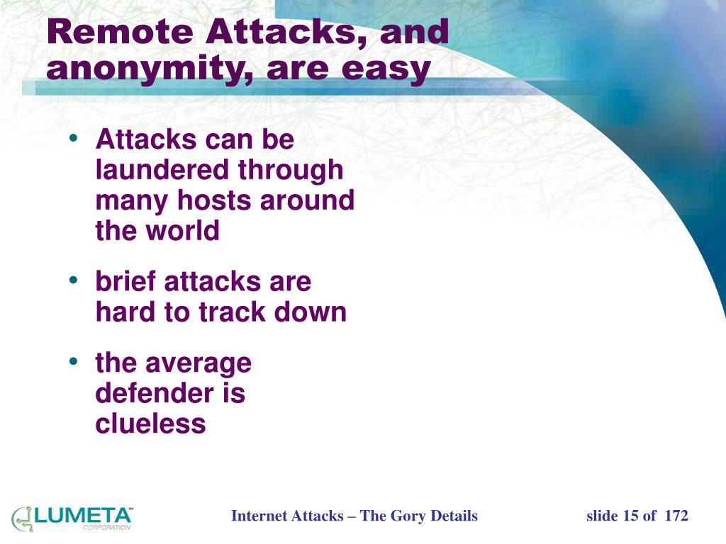 Attacks can be laundered through many hosts around the world