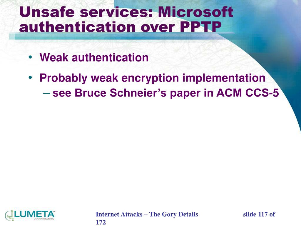 Unsafe services: Microsoft authentication over PPTP