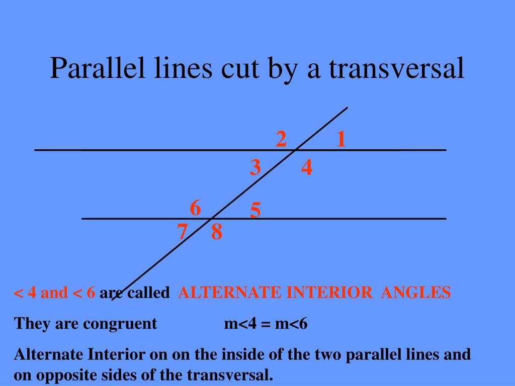 ppt parallel lines cut by a transversal powerpoint