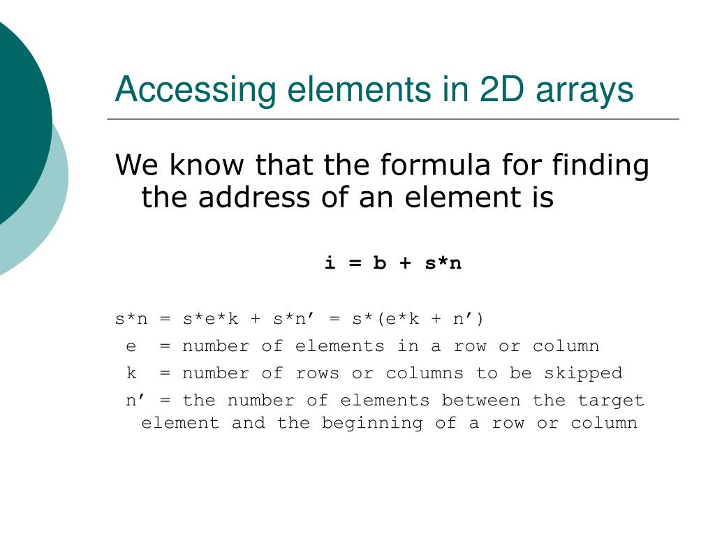Accessing elements in 2D arrays