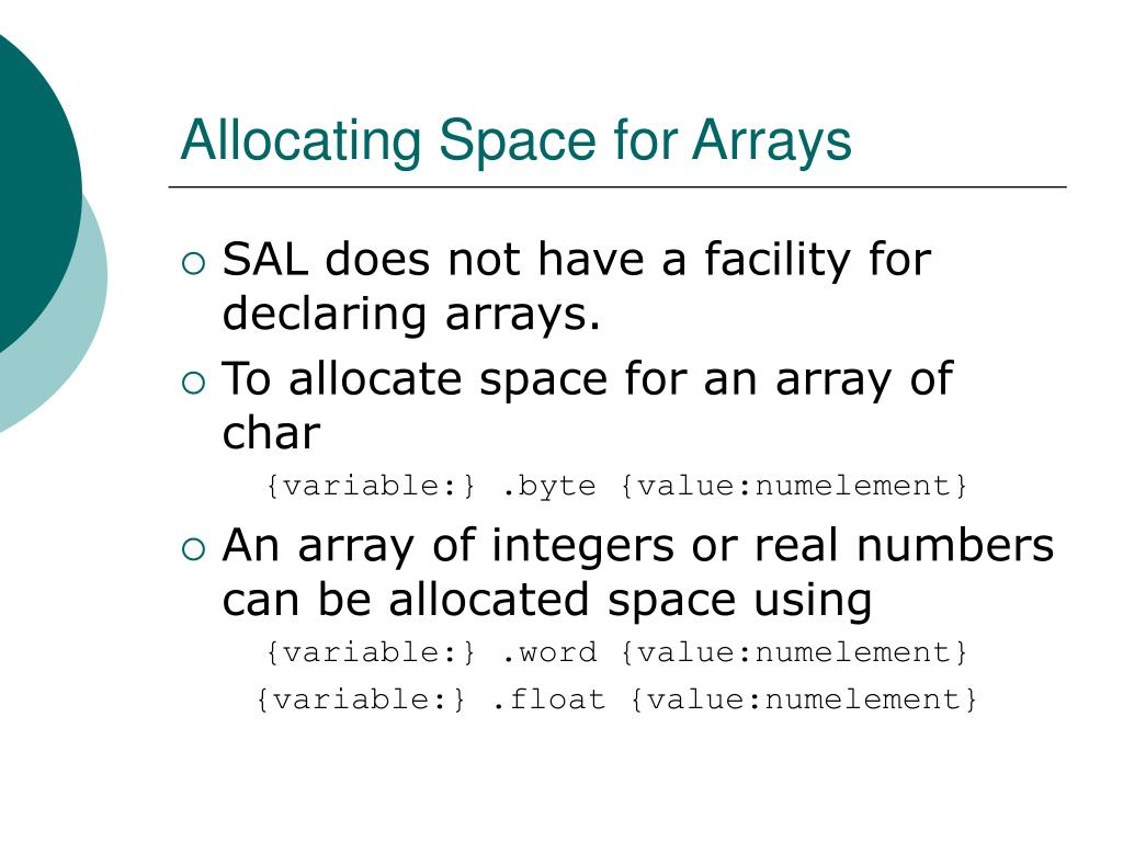 Allocating Space for Arrays