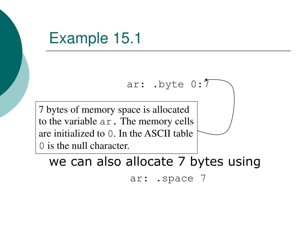 7 bytes of memory space is allocated