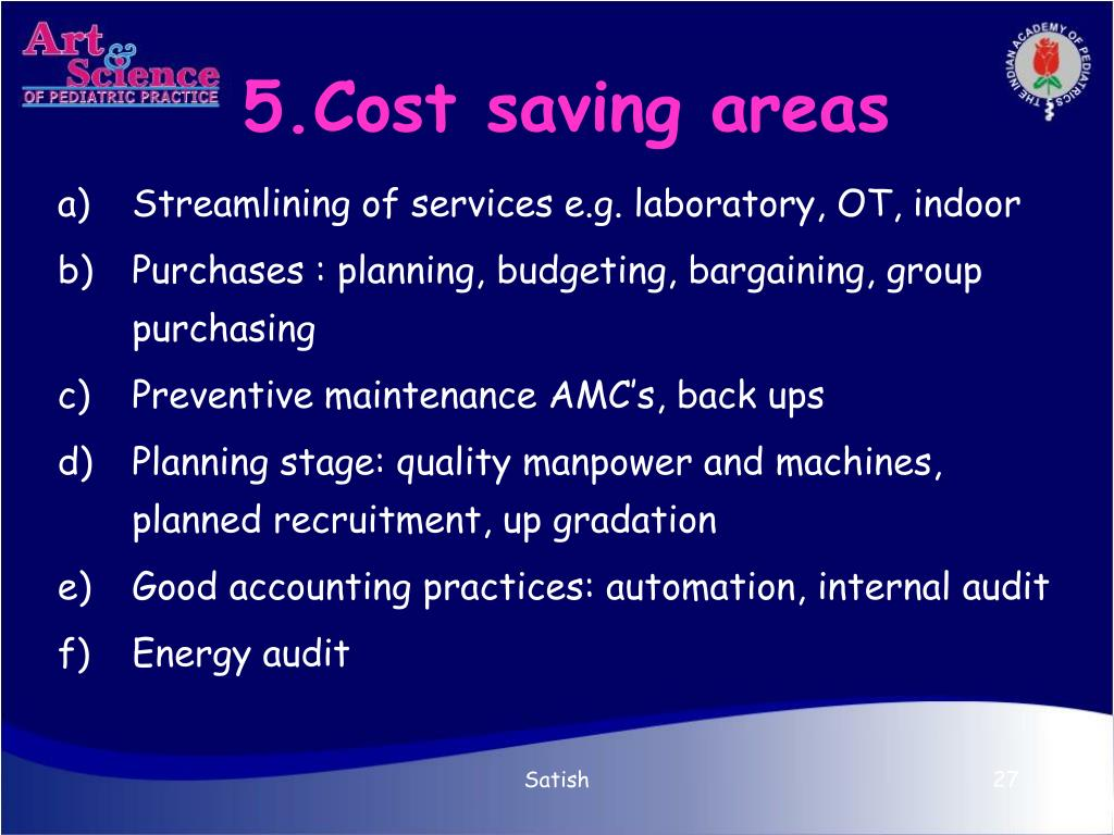 5.Cost saving areas