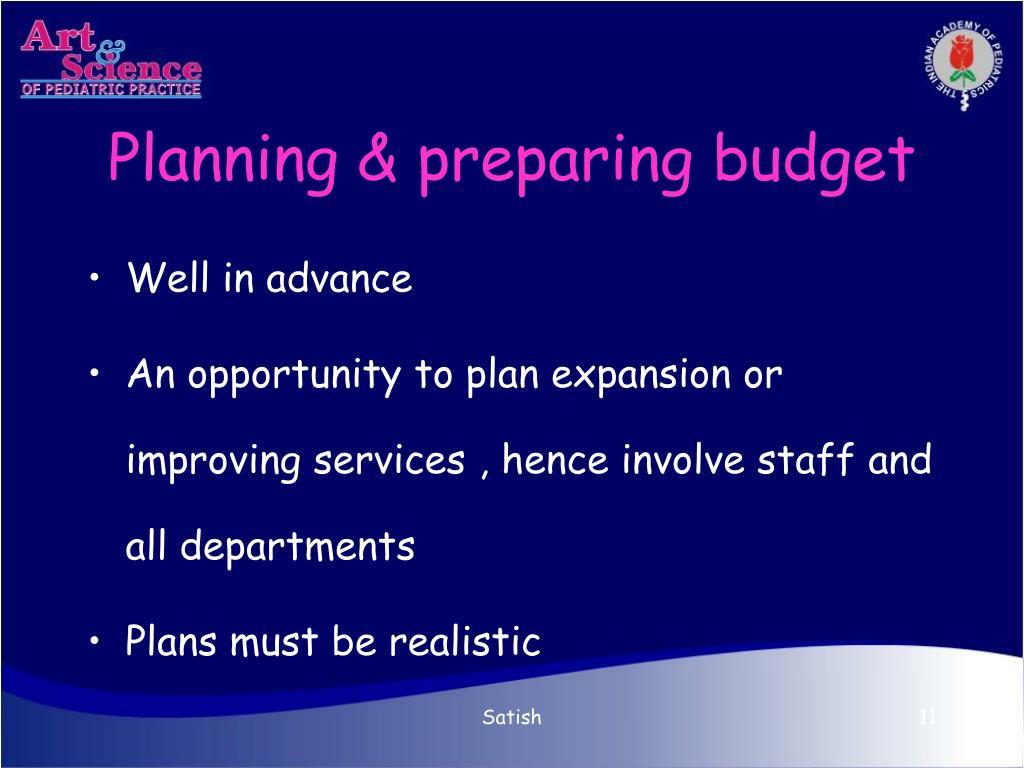 Planning & preparing budget