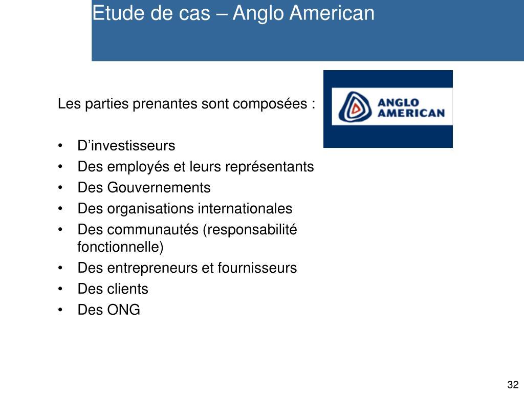 Etude de cas – Anglo American