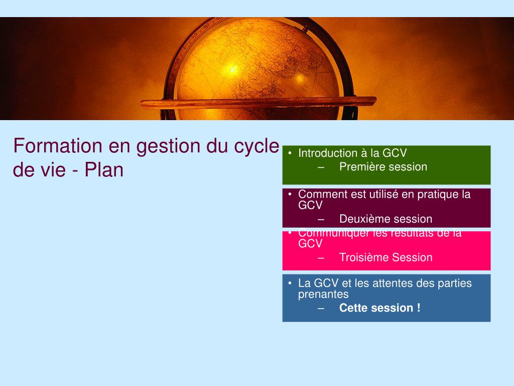 Formation en gestion du cycle de vie - Plan