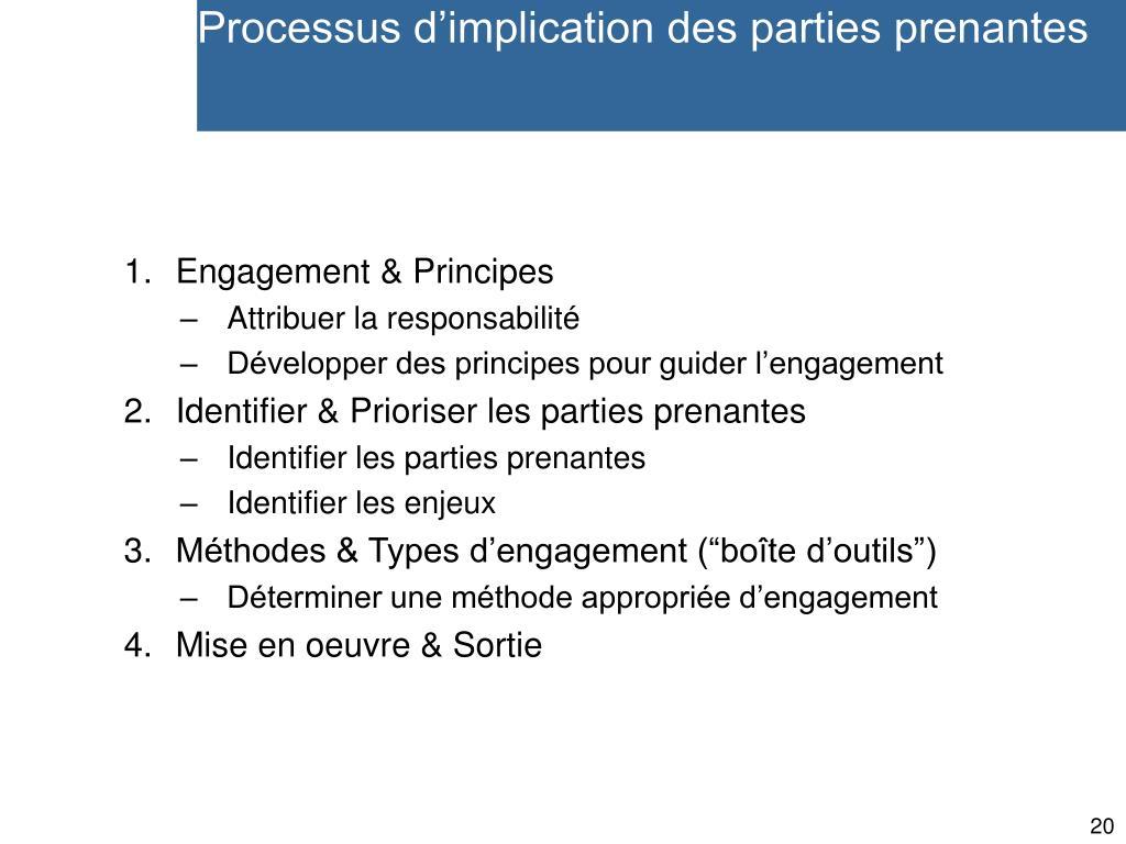 Processus d'implication des parties prenantes