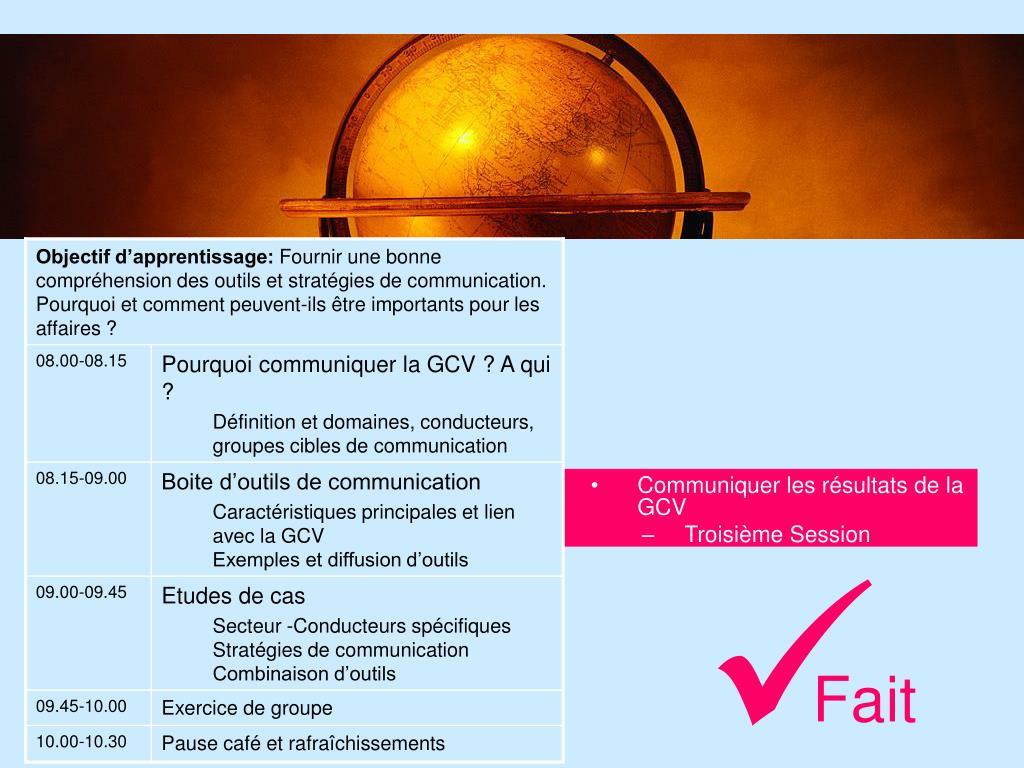 Communiquer les résultats de la GCV