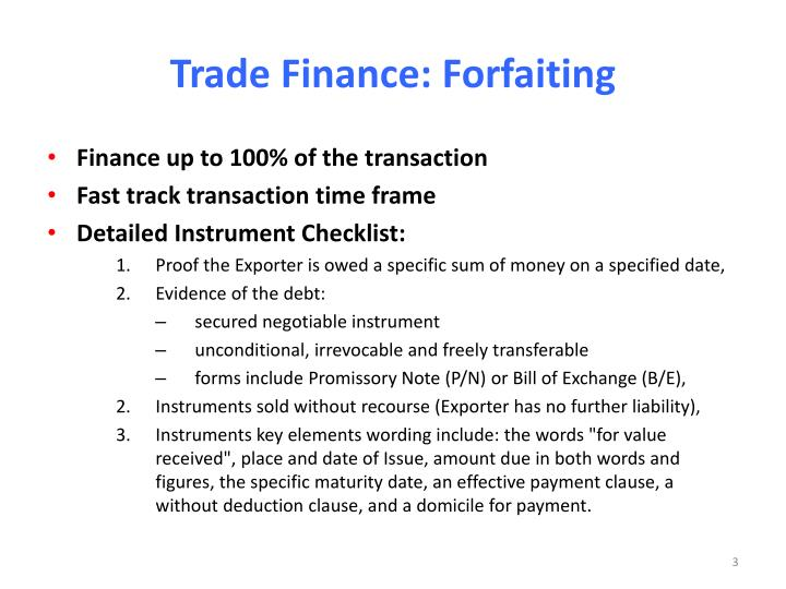Trade finance forfaiting