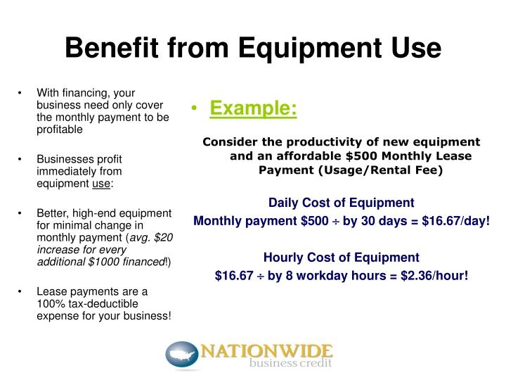 Benefit from equipment use