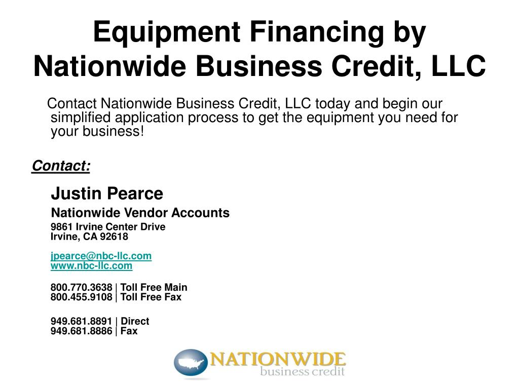 Contact Nationwide Business Credit, LLC today and begin our simplified application process to get the equipment you need for your business!