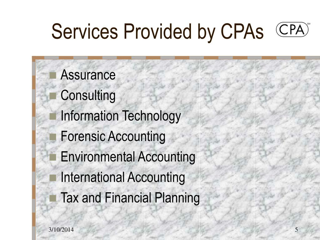 Services Provided by CPAs