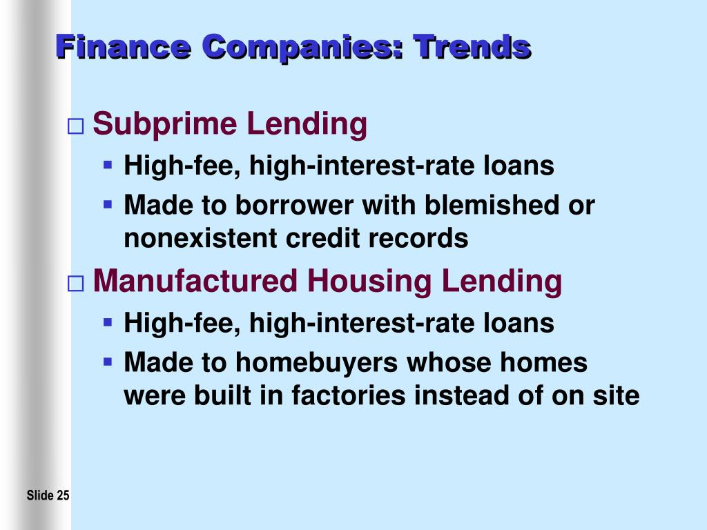 Finance Companies: Trends
