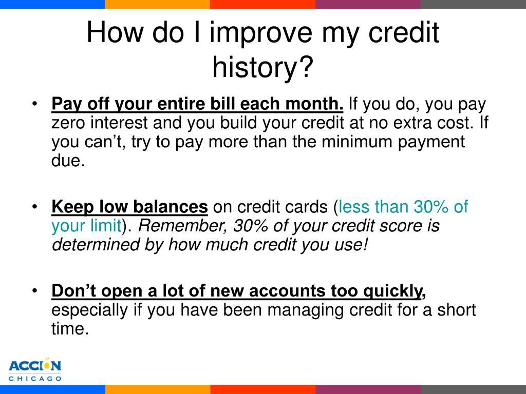 How do I improve my credit history?
