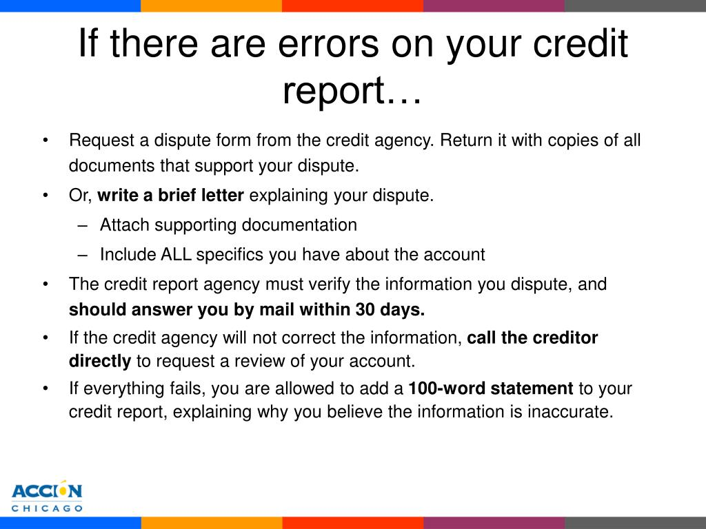 If there are errors on your credit report…