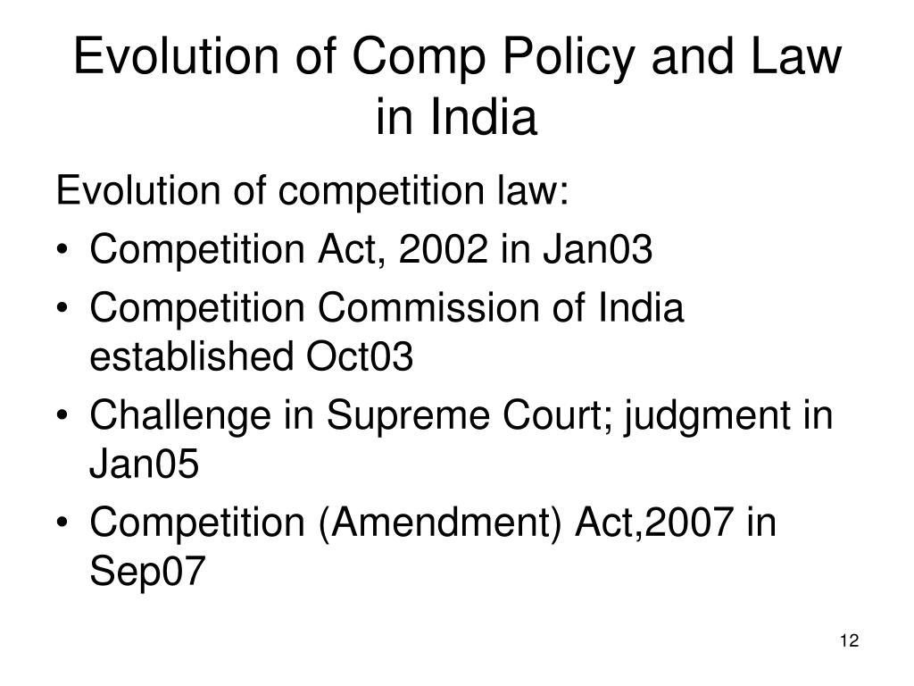 history of competition law in india By january 2003, india's competition act was notified, with a 10-member  competition commission  tags: express economic history series.
