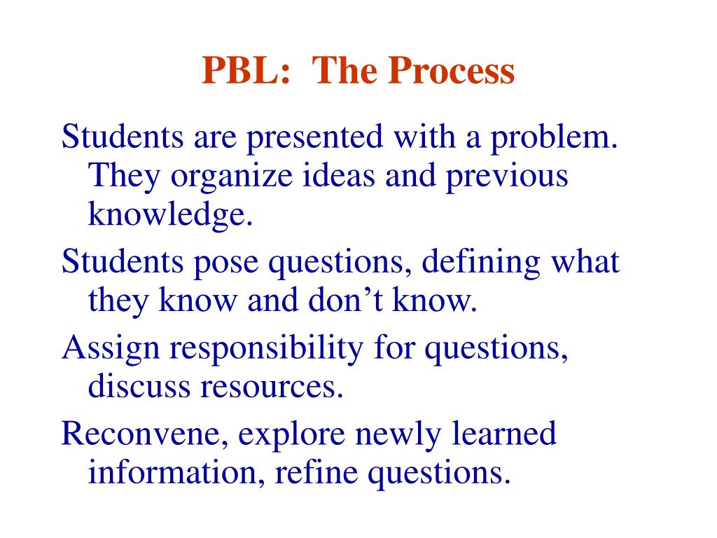PBL:  The Process