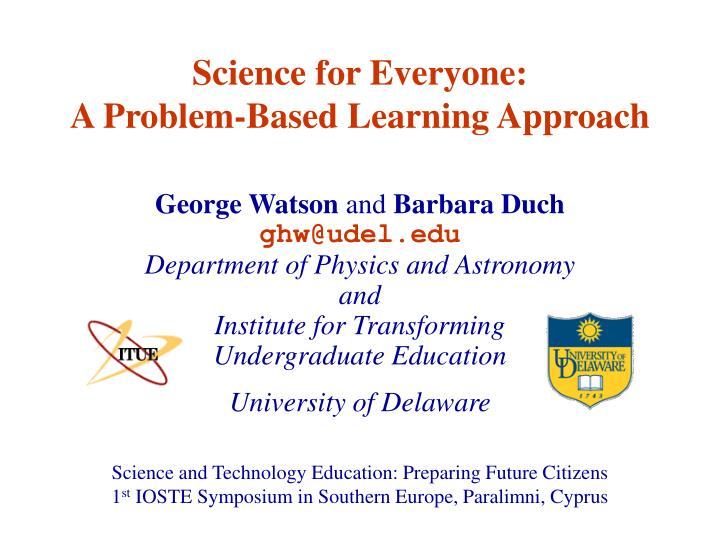 Science for everyone a problem based learning approach