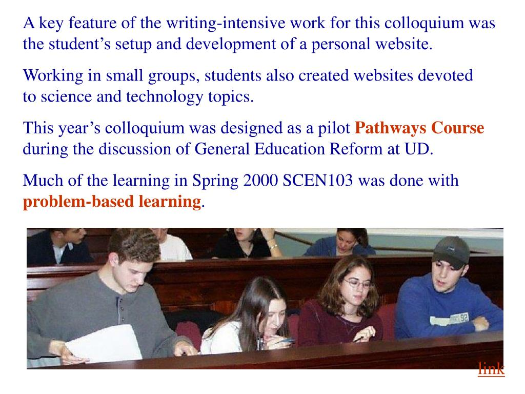 A key feature of the writing-intensive work for this colloquium was the student's setup and development of a personal website.