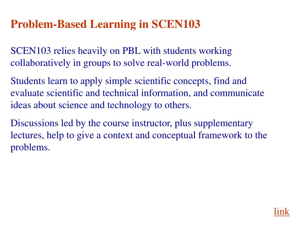 Problem-Based Learning in SCEN103