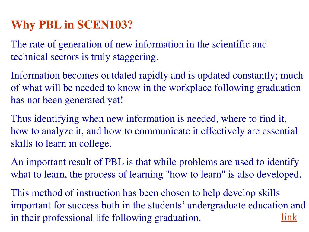 Why PBL in SCEN103?