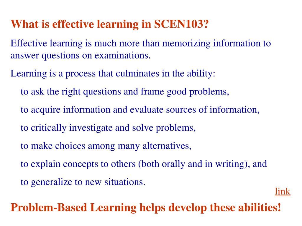 What is effective learning in SCEN103?