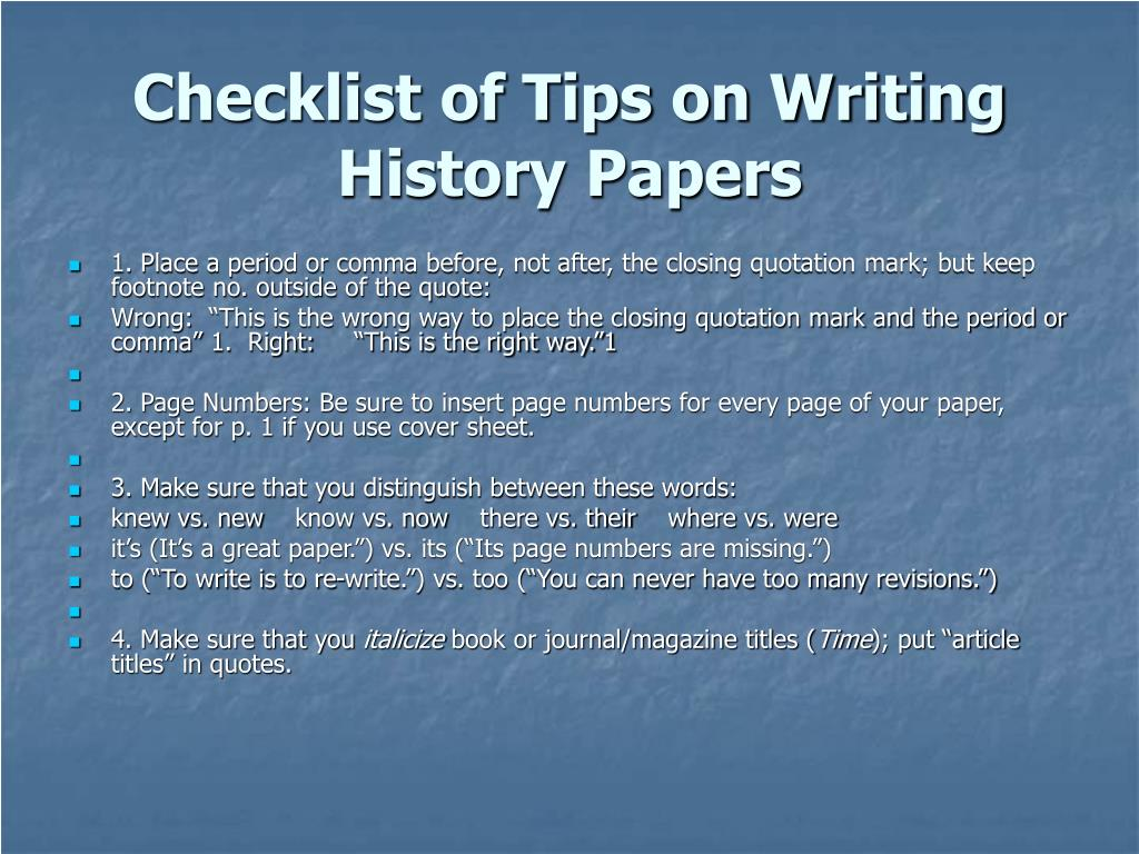 Checklist of Tips on Writing History Papers