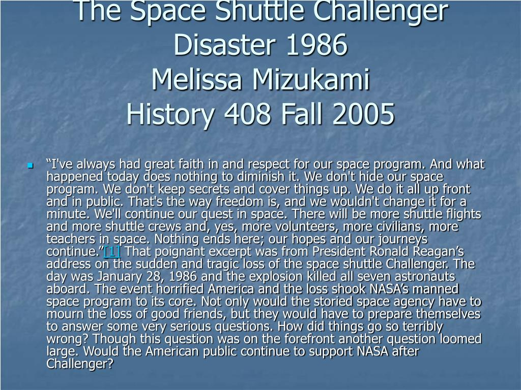 The Space Shuttle Challenger Disaster 1986