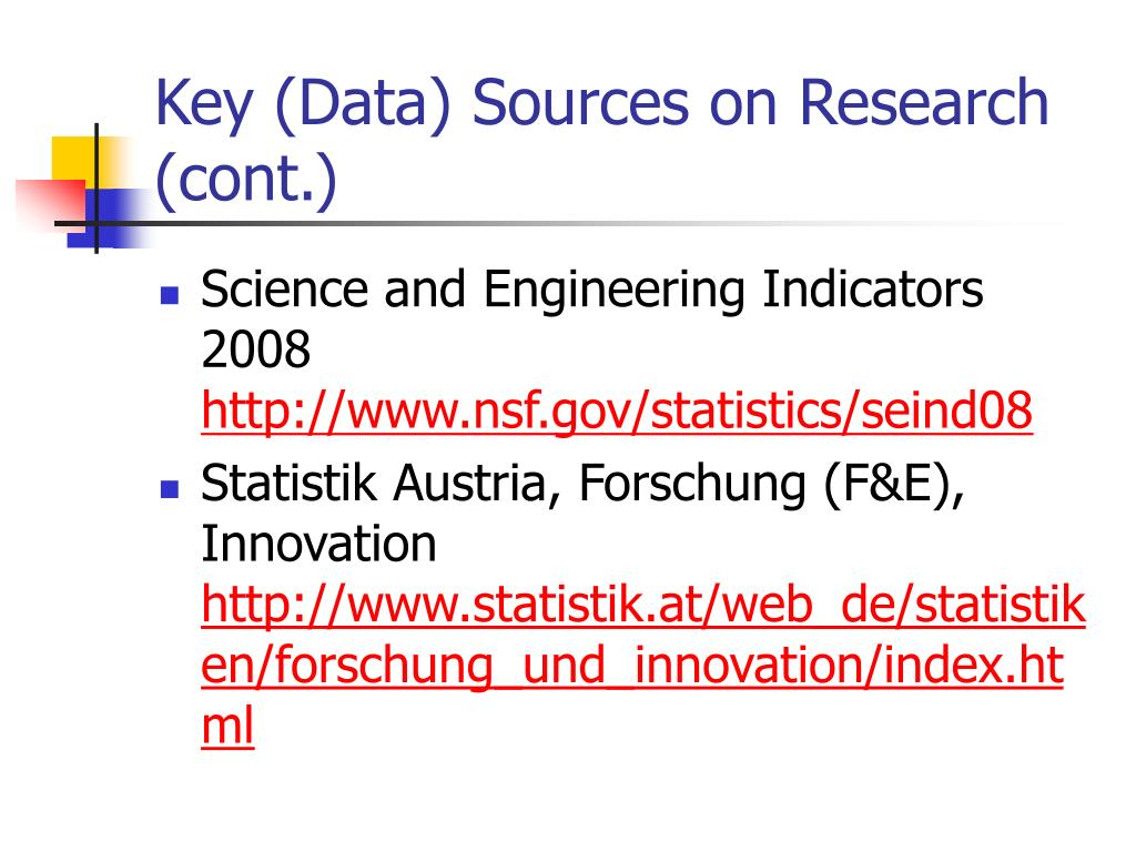 Key (Data) Sources on Research (cont.)