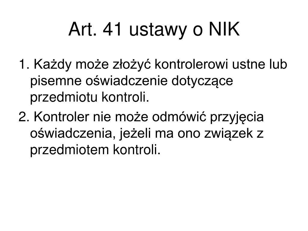 Art.41 ustawy o NIK