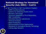 national strategy for homeland security july 2002 cont d10